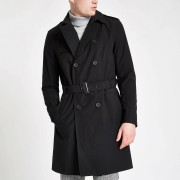River Island Mens Black double breasted belted trench coat (M)