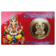 Shopping store om shree Ganesh Golden Plated Goddess Yantra Coin ATM Card - For Temple Home Locker Purse for Pocket