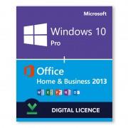 Windows 10 Pro + Microsoft Office 2013 Home & Business Bundle - Digital Licences