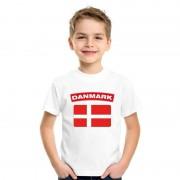 Bellatio Decorations T-shirt Deense vlag wit kinderen M (134-140) - Feestshirts