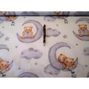 100% pamutvászon textil 160 cm széles aranyos drapp macis mintával