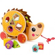 Cossy Wooden Shape Sorter Pull Toy - Hedgehog Puzzle For Toddler Learning Walk-A-Long Push & Educational Old