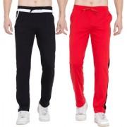 Cliths Pack of 2 Track Pants for Men (Red Black Black White)