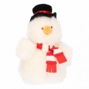 Merkloos Pluche sneeuwpop knuffel 14 cm