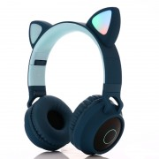 Cute Cat Ear Bluetooth 5.0 Headphones Foldable On-Ear Stereo Wireless Headset with Mic - Blue
