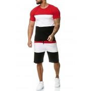 OneRedox Jogging Suit Sport Set Training Suit Shorts & Short Sleeved T Shirt Red 1335C 59007-2
