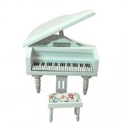 BESTLEE 1:12 Dollhouse Miniature White Wooden Grand Piano with Bench