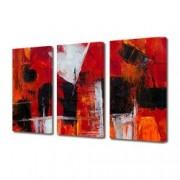 Tablou Canvas Premium Abstract Multicolor Rosu Alb Si Negru Decoratiuni Moderne pentru Casa 3 x 70 x 100 cm