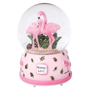 Cute Flamingo Snow Crystal Ball With Light Music Box Theme Musical Birthday Present