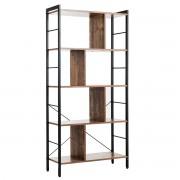 Costway Bibliothèque à 5 Niveaux Style Industriel Etagère de Rangement 74x30x155cm