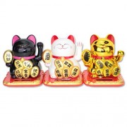 Black / White / Gold Tall Happy Beckoning Fortune Happy Cats Maneki Neko Solar Toy Home Decor Business Part Gift ~We Pay Your Sales Tax