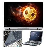 FineArts Laptop Skin Football on Fire With Screen Guard and Key Protector - Size 15.6 inch