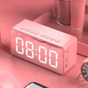 BT506 Portable Bluetooth Speaker Wireless Stereo Speaker Support TF AUX Mirror Alarm Clock for Phone Computer - Pink