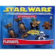 Playskool Galactic Heroes Fast Thru Forest Set (Wicket Ewok, Luke & Biker Scout Speeder Bikes)