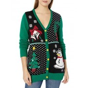 Ugly Christmas Sweater Company Women's Button-Front Christmas Cardigan Sweater, Emerald, XL