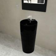 vidaXL Керамична мивка на стойка, преливник, отвор за смесител, черна, кръгла