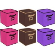 Billion Designer Non Woven 6 Pieces Large Foldable Storage Organiser Cubes/Boxes (Coffee & Pink & Purple) - CTKTC35302 CTLTC035302(Coffee & Pink & Purple)