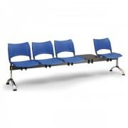 Kovo Praktik Plastové lavice VISIO, 4-sedák + stolek, chromované nohy černá