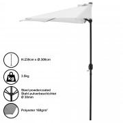 Чадър за слънце [casa.pro]® , полукръг, за стена 300 x 150 x 30 cm, Бял