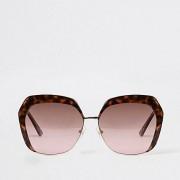 River Island Womens Brown tortoiseshell pink lens glam sunglasses (One Size)
