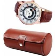 Pachet cutie depozitare si transport din piele ecologica pentru 3 ceasuri + 1 ceas barbatesc elegant DEEP RED cifre romane curea maro