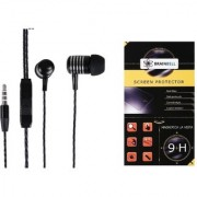 BrainBell COMBO OF UBON Earphone MT-41 POWER BEAT WITH CLEAR SOUND AND BASS UNIVERSAL And LG STYLUS 2 Tempered Scratch Guard Screen Protector