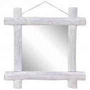 vidaXL Espelho de troncos 70x70 cm madeira recuperada maciça branco