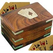 SKAVIJ Playing Card Case 2 Deck Playing Or Poker Card Holder Organizer Handmade Cards Protector