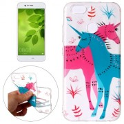 Huawei nova 2 Red and Blue Unicorn Pattern Embossment TPU Protective Back Cover Case