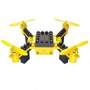 HAWK LI DIY Drone RC Quadcopter con Bloques de construcción de cámara Flying Drone con transmisión en Tiempo Real, Control de Aplicaciones, Desplazamiento, 360 ° Roll, Modo sin Cabeza (Yellow)