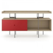 BDI MargoC Console Drift Oak w/ Cayenne Door