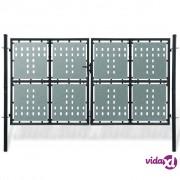 vidaXL Crna dupla dvorišna vrata 300 x 200 cm