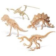Puzzled Tyrannosaurus, Pteranodon, Velociraptor, Stegosaurus Wooden 3 D Puzzle Construction Kit