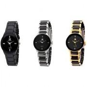 IIK Collection Women Black Silver Go lden Analog Watch - For Women Watch