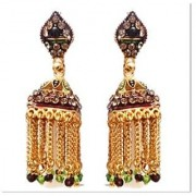 Rabbi Gold plated Mastani Big Jhumka Earrings With Stone High quality