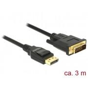 DeLock Displayport 1.2 male > DVI-D (Single Link) male passive 3m Black Cable 85314