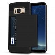 Black Shock Proof Slide Card Armor Case For Samsung Galaxy S8