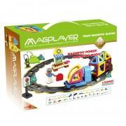 Joc de constructie magnetic Magplayer, 68 piese, diferite forme geometrice