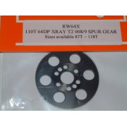 RW 64X110T Xray T2/T3 Offset Supa-lite Spur Gear 110 Tooth 64 DP