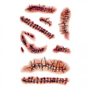 Squeevi 10Pcs Scar Temporary Tattoo Sticker, Fake Bloody Wound Stitch Scar, Halloween Zombie Scars Tattoos, for Holiday Party Masquerade Prank Horror Realistic, Waterproof Bleeding Stickers Props