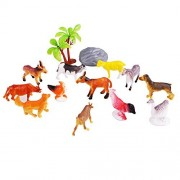 Emorefun Figure Toys, 12 pcs Mini Farm Animal Toys Set Plastic Model Animals Figure Learning Resource Party Favors for Kids Toddlers