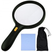 EXTRA LARGE 3 LED Handheld Magnifying Glass with dual glass - Magnifier For Senior Reading Hobbies and Crafts Computer Repair and Jewelry Loupe (1.8X 138 mm 5X 25 mm)