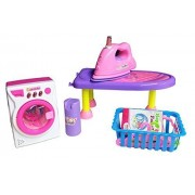 Mini Helper Laundry Ironing Set with Toy Iron, Ironing Board, Laundry Basket, Toy Washing Machine