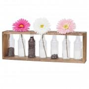 Holz-Vase HWC-A43, Blumenvasen Dekoflaschen, Glas Tanne Holz massiv Shabby-Look 55x19x8cm ~ Variantenangebot