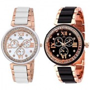 NG Collection Rose Golden Black/White Analog Combo Watch For Women Pack Of 2 Watch