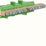 N/PE sín 6x16mm2+7x10mm2, L=85mm, talpra szerelt, zöld (Hager KM13E)