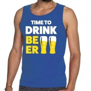 Shoppartners Toppers - Time to drink Beer tekst tanktop / mouwloos shirt blauw
