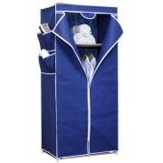 Ruhatároló szekrény, vászon 154 x 70 x 46 cm kék, 1 zipzár