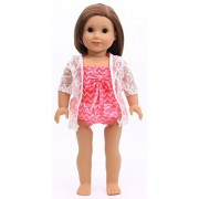 American girl doll clothes - Red swimsuit/Bathing suit with coverup for 18inch American girl dolls by Honey Doll