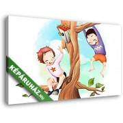 Fiúk a fán (40x25 cm, Vászonkép )